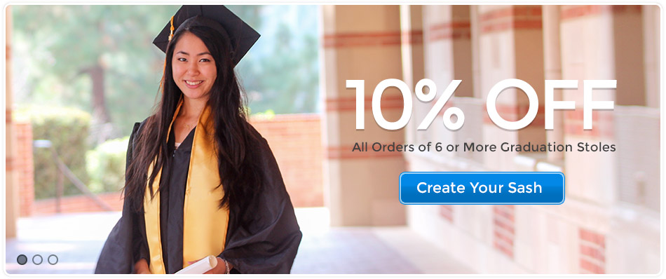 10% off all orders of 6 or more Graduation Stoles